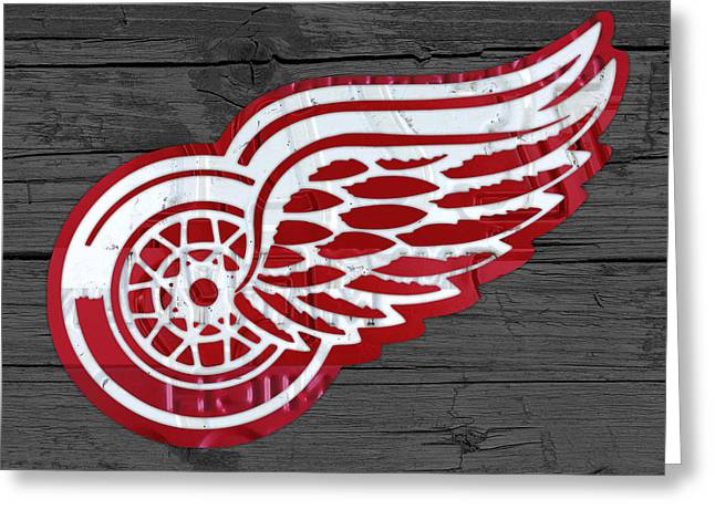 Red Wings Greeting Cards - Detroit Red Wings Recycled Vintage Michigan License Plate Fan Art on Distressed Wood Greeting Card by Design Turnpike