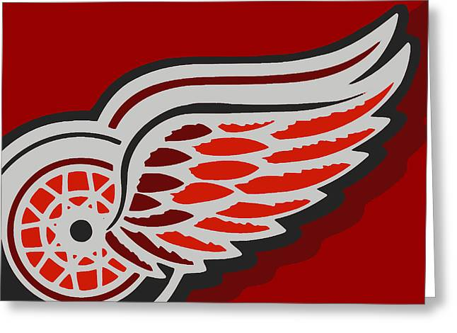 Puck Paintings Greeting Cards - Detroit Red Wings Greeting Card by Tony Rubino