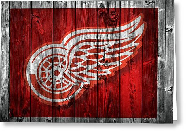 Old Skates Photographs Greeting Cards - Detroit Redwings Barn Door Greeting Card by Dan Sproul