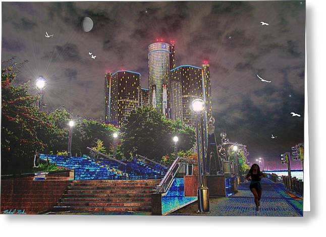 Renaissance Center Greeting Cards - Detroit Riverwalk Greeting Card by Michael Rucker