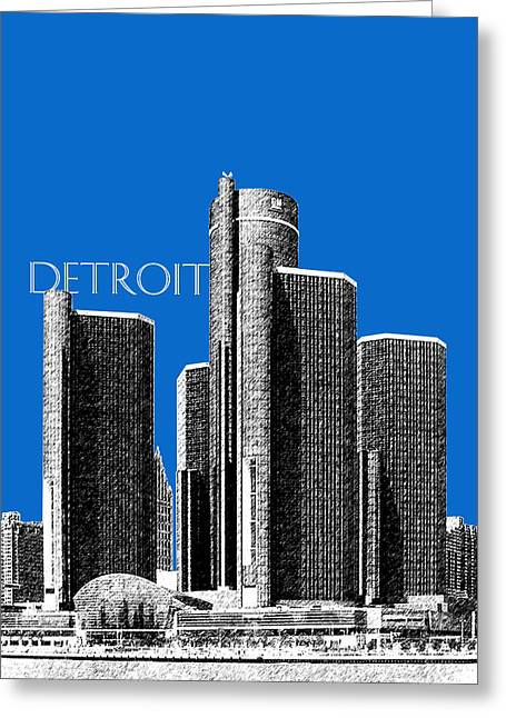 Sketch Greeting Cards - Detroit Skyline 1 - Blue Greeting Card by DB Artist