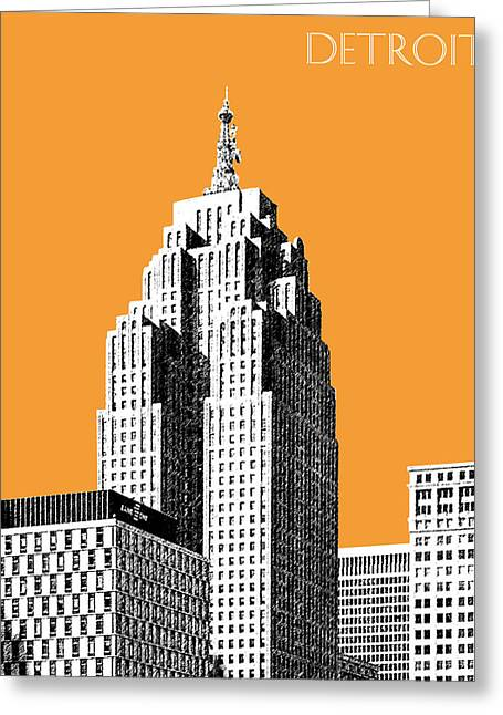Pen Digital Greeting Cards - Detroit Skyline 2 - Orange Greeting Card by DB Artist