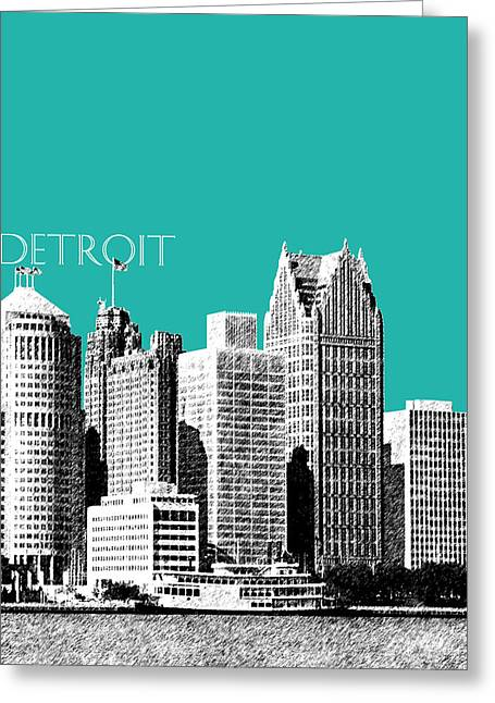 Office Decor Greeting Cards - Detroit Skyline 3 - Teal Greeting Card by DB Artist