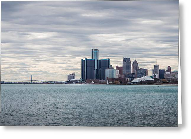 Renaissance Center Greeting Cards - Detroit Skyline and Ambassador Bridge  Greeting Card by John McGraw