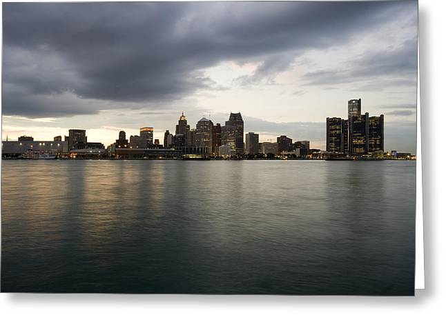 Best Sellers -  - Renaissance Center Greeting Cards - Detroit Skyline at Sunset Greeting Card by Gary Marx