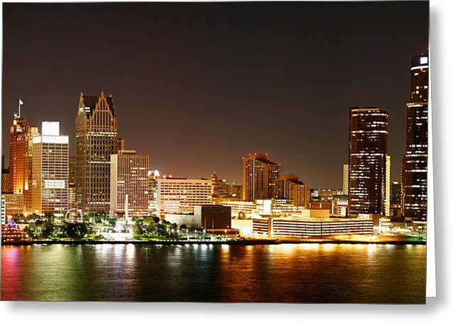 Panorama Greeting Cards - Detroit Skyline at Night-Color Greeting Card by Levin Rodriguez