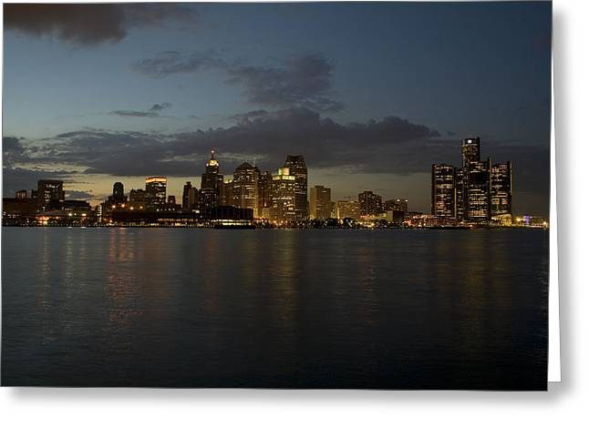 Detroit Skyline At Sunset Greeting Card by Gary Marx