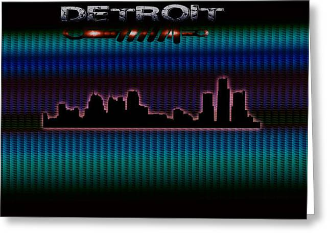 8 Mile Greeting Cards - Detroit Skyline Greeting Card by Becca Buecher