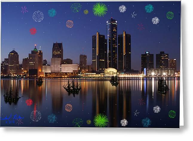 Detroit Skyline Fireworks Greeting Card by Michael Rucker