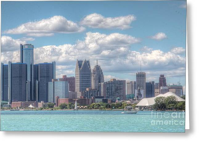 Rencen Greeting Cards - Detroit Skyline Greeting Card by Kathy Wesserling