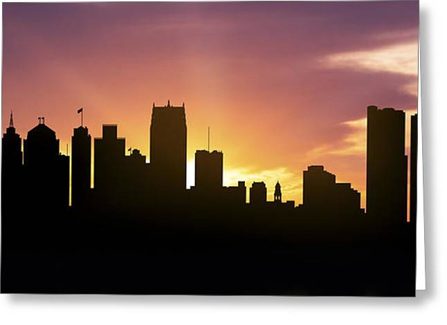 Down Town Greeting Cards - Detroit Skyline Panorama Sunset Greeting Card by Aged Pixel