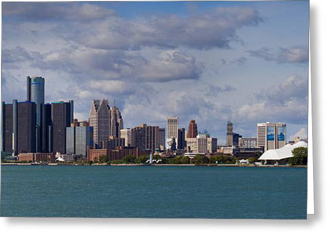 Ren Cen Greeting Cards - Detroit Skyline Greeting Card by Twenty Two North Photography
