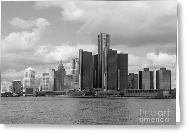 Detroit Skyscape Greeting Card by Ann Horn