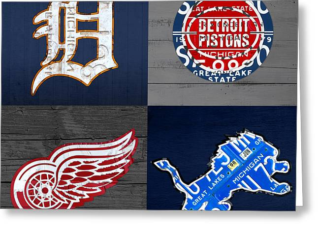 Sports Fan Greeting Cards - Detroit Sports Fan Recycled Vintage Michigan License Plate Art Tigers Pistons Red Wings Lions Greeting Card by Design Turnpike