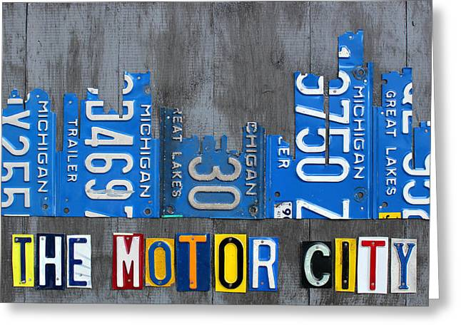 Detroit The Motor City Skyline License Plate Art On Gray Wood Boards  Greeting Card by Design Turnpike