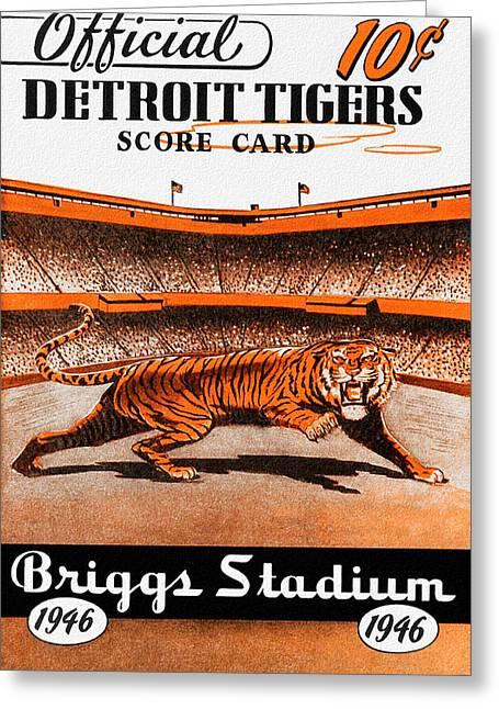 Stadium Design Paintings Greeting Cards - Detroit Tigers 1946 Scorecard Greeting Card by Big 88 Artworks