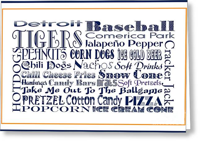 Detroit Tigers Digital Greeting Cards - Detroit Tigers BASEBALL Game Day Food 3 Greeting Card by Andee Design
