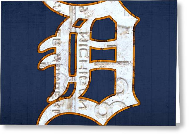 White Blue Greeting Cards - Detroit Tigers Baseball Old English D Logo License Plate Art Greeting Card by Design Turnpike
