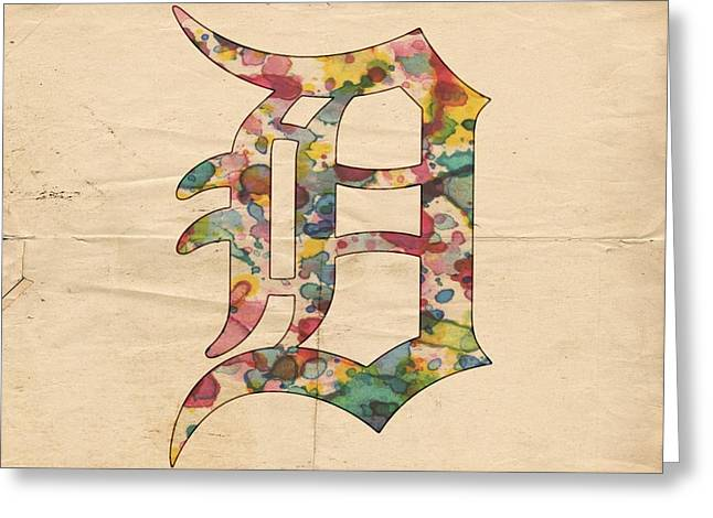 Bat Digital Greeting Cards - Detroit Tigers Logo Vintage Greeting Card by Florian Rodarte