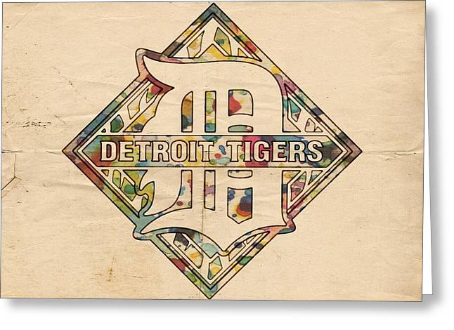 Tiger Poster Greeting Cards - Detroit Tigers Poster Art Greeting Card by Florian Rodarte
