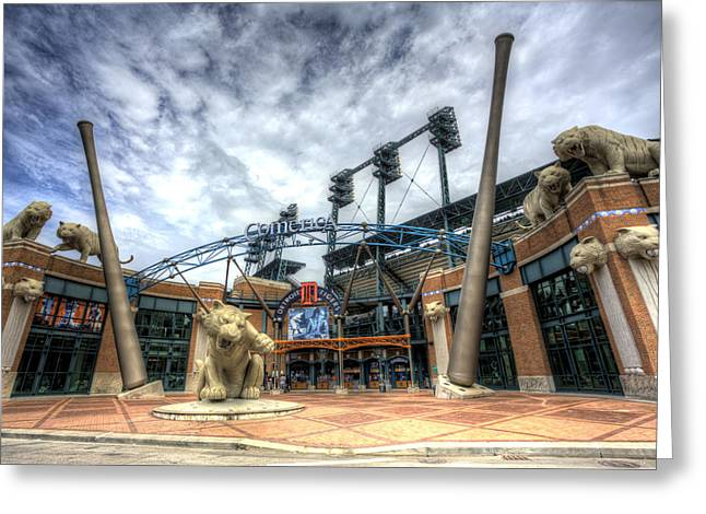Tiger Stadium Greeting Cards - Detroit Tigers Stadium Entrance Greeting Card by Shawn Everhart
