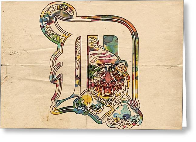 Tiger Poster Greeting Cards - Detroit Tigers Vintage Poster Greeting Card by Florian Rodarte