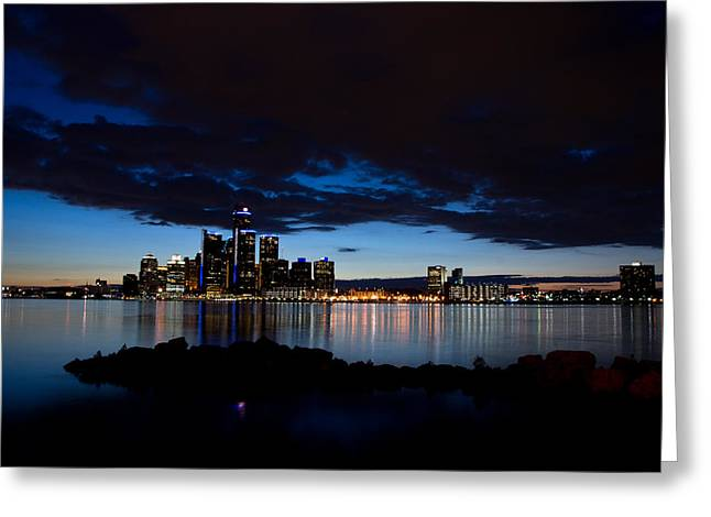 Renaissance Buildings Greeting Cards - Detroit Twilight Greeting Card by Cale Best