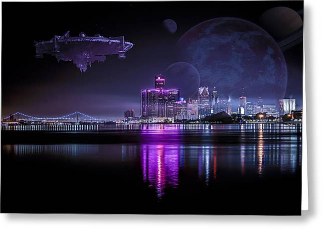 Detroit Pistons Digital Greeting Cards - Detroit Worlds Greeting Card by Nicholas  Grunas