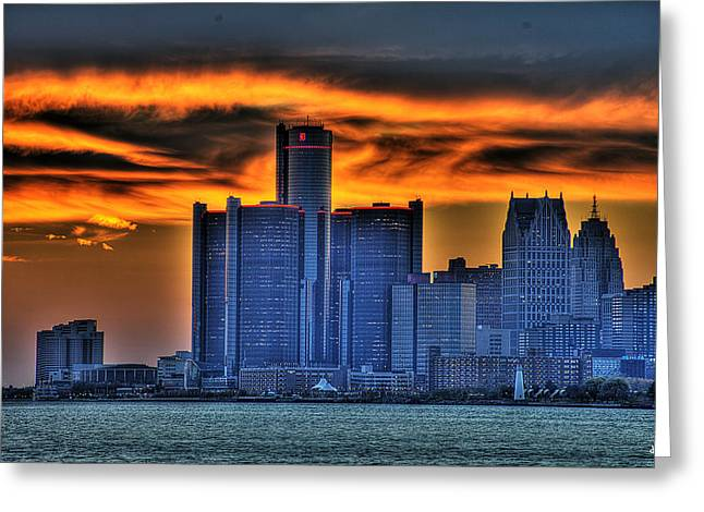 Detroit Pistons Digital Greeting Cards - Detroits Sky Greeting Card by Nicholas  Grunas