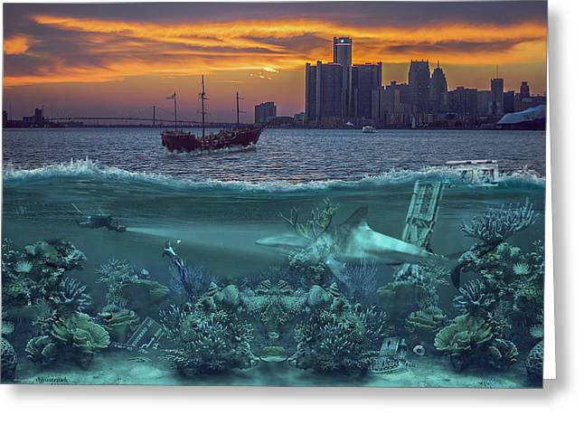 Detroit Pistons Digital Greeting Cards - Detroits Under Water Greeting Card by Nicholas  Grunas