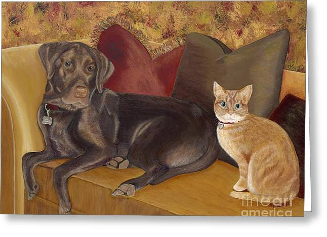 Chocolate Lab Greeting Cards - Deuce and Bowser Greeting Card by Mona Elliott