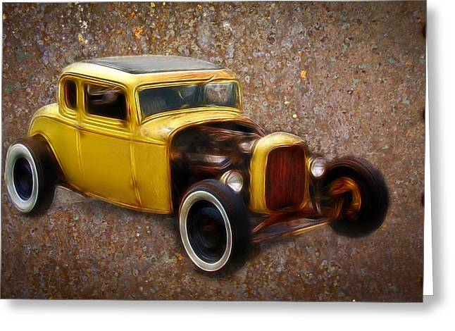 Graffitti Coupe Greeting Cards - Deuce Coupe on Rust  Greeting Card by Steve McKinzie