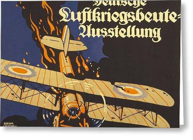 Firsts Drawings Greeting Cards - Deutsche Luftkriegsbeute Ausstellung Greeting Card by Siegmund von Suchodolski