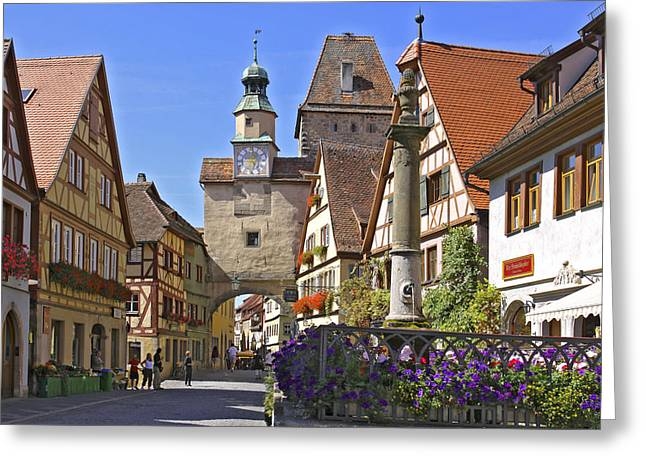 Bauwerk Greeting Cards - Deutschland, Bayern, Rothenburg Ob Der Greeting Card by Tips Images