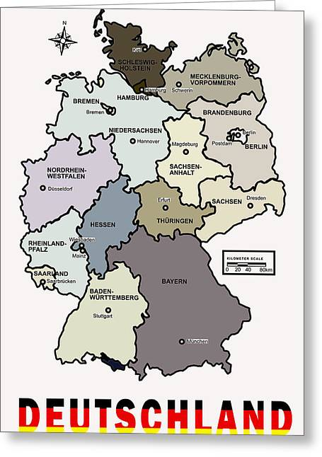 Map Of Germany Greeting Cards - Deutschland Map Greeting Card by Daniel Hagerman