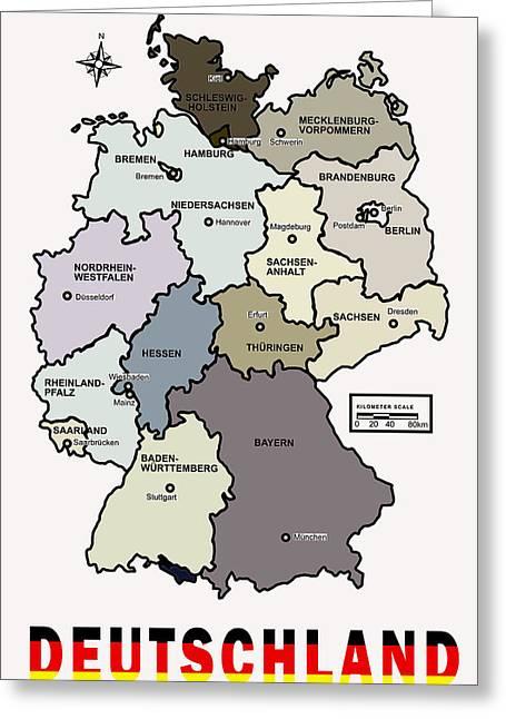 Deutschland Digital Art Greeting Cards - Deutschland Map Greeting Card by Daniel Hagerman