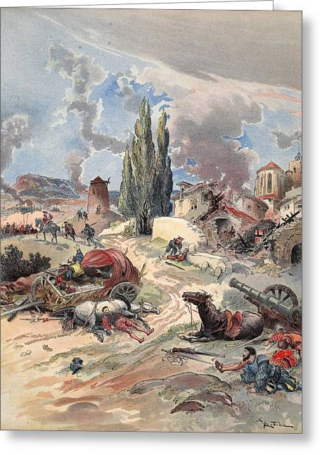 Civilians Greeting Cards - Devastation Of Provence, Illustration Greeting Card by Albert Robida