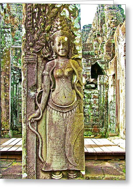 Hindu Goddess Digital Greeting Cards - Devata or Hindu Goddess in the Bayon of Angkor Wat Archeological Park near Siem Reap-Cambodia  Greeting Card by Ruth Hager