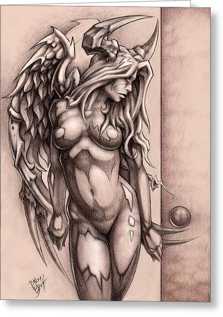 Angel Drawings Greeting Cards - Devil Angel Greeting Card by David Bollt