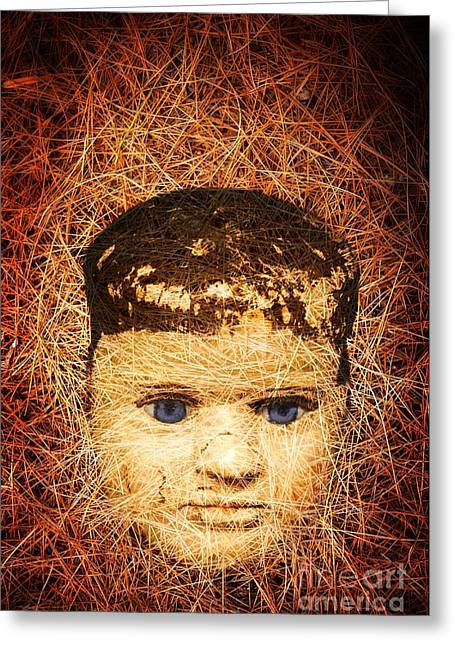 Evil Photographs Greeting Cards - Devil Child Greeting Card by Edward Fielding