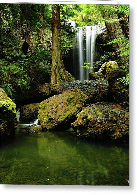 Moss Green Greeting Cards - Devil Creek Falls  Greeting Card by Jeff  Swan