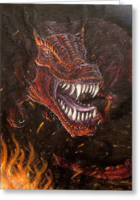 Dinosaurs Pastels Greeting Cards - Devil Dino Greeting Card by Steve Spagnola