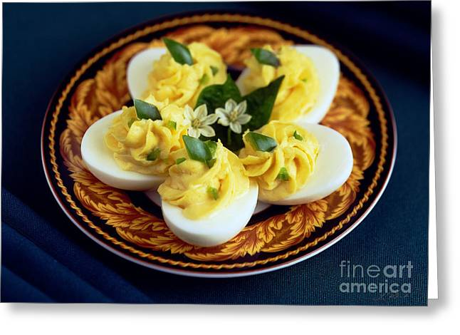 Party Food Greeting Cards - Deviled Eggs Greeting Card by Iris Richardson