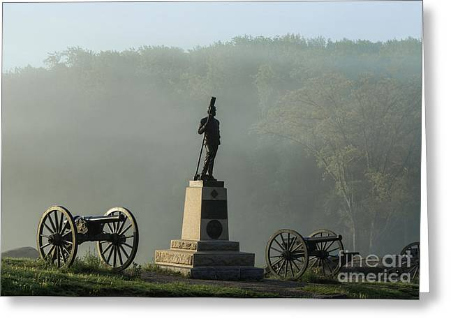 Statue Of Confederate Soldier Greeting Cards - Devils Den monument at Gettysburg Greeting Card by John Greim