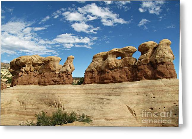 Holes In Sandstone Greeting Cards - Devils Garden - Hoodoos and Windows Greeting Card by Sheryl Young
