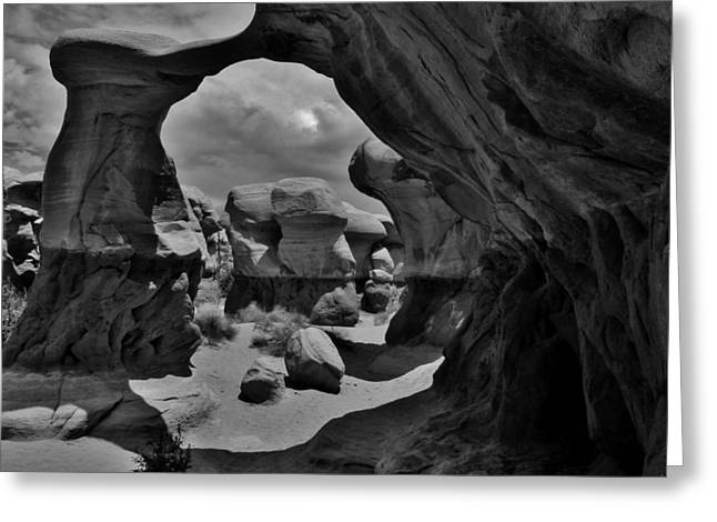 Holes In Sandstone Greeting Cards - Devils Garden Greeting Card by Sarah Pemberton