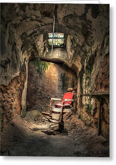 Creepy Digital Art Greeting Cards - Devils Haircut - Barbers Chair in Cell Block 10 Greeting Card by Gary Heller