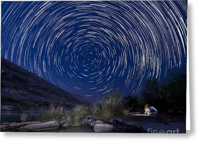 Canoe Photographs Greeting Cards - Devils River Star Trails Greeting Card by Richard Mason