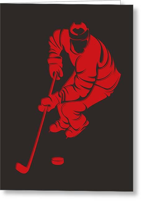 Rink Greeting Cards - Devils Shadow Player3 Greeting Card by Joe Hamilton