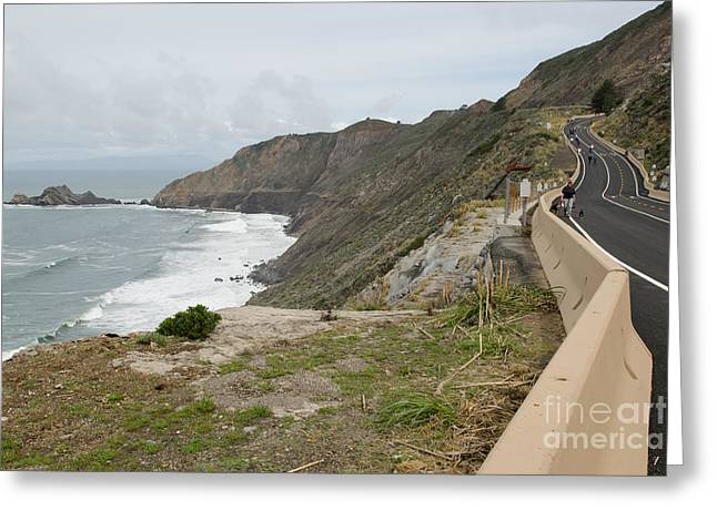 Mountain Road Greeting Cards - Devils Slide Coastal Trail Pacifica California DSC770 Greeting Card by Wingsdomain Art and Photography